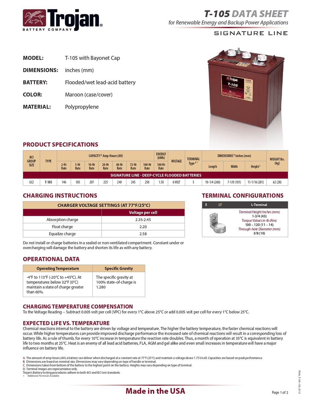 Especificaciones Batería Trojan